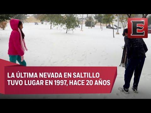 Habitantes de Saltillo disfrutan nevada
