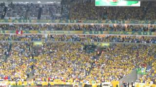 The Crowd at Maracanã sings the Brazilian National Anthem before the 2013 Confederations Cup final