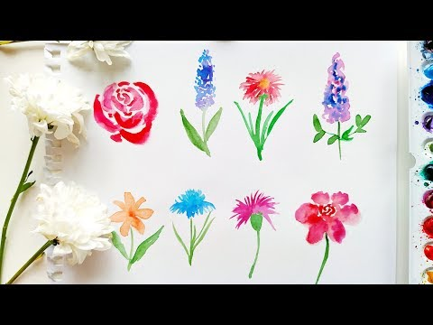 How To Paint Loose Watercolor Flowers - Painting Tutorial For Beginners \ Watercolor ASMR