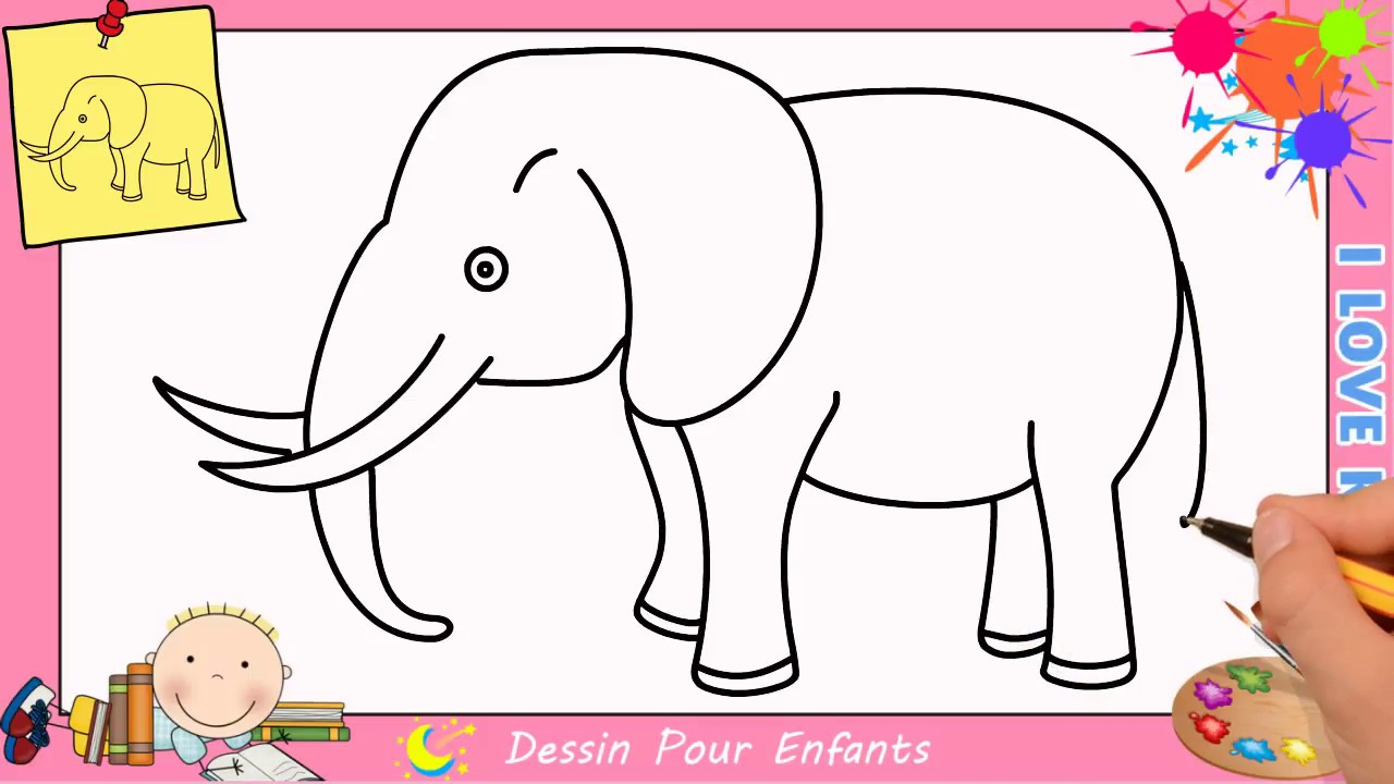 Comment dessiner un l phant facilement etape par etape pour enfants 4 youtube - Comment dessiner un enfant ...