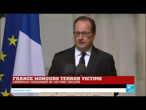 France: French president François Hollande pays tribute to the victims of terrorism