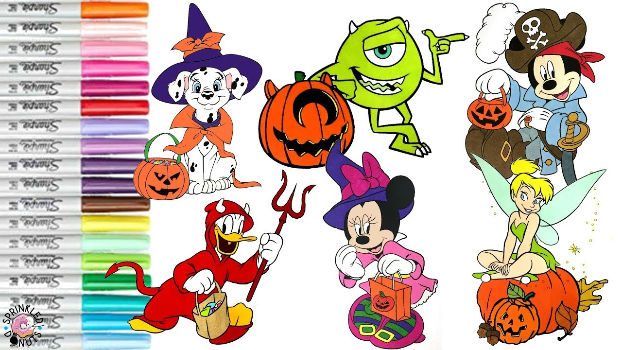 Disney Halloween Coloring Book Compilation Mickey Minnie Monsters Inc