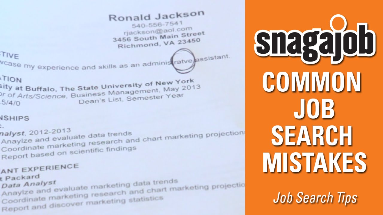 job search tips part common job search mistakes job search tips part 1 common job search mistakes