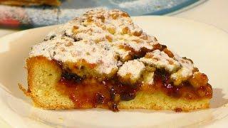 Тертый пирог с вареньем Очень простой рецепт тертого песочного пирога  Grated pie with jam