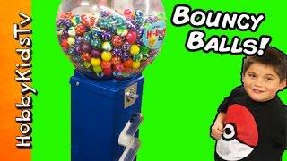 Surprise BOUNCY BALLS Toy Machine by HobbyKidsTV