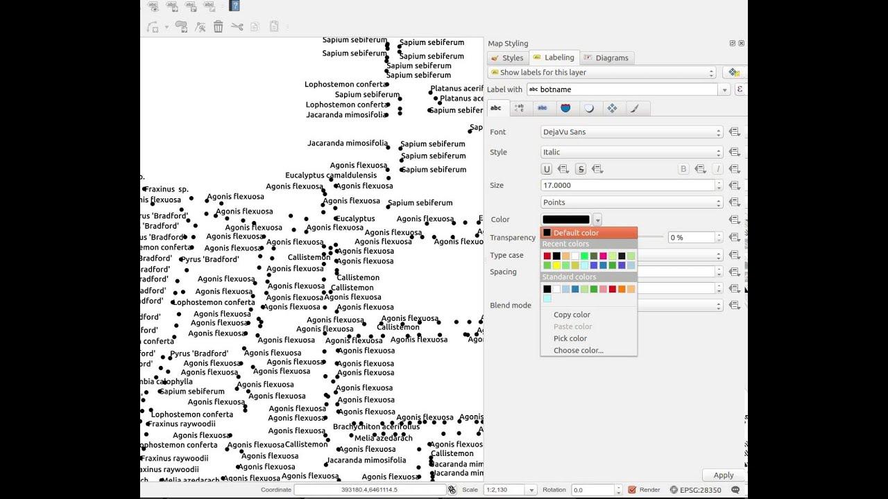 Label settings in dock widget QGIS