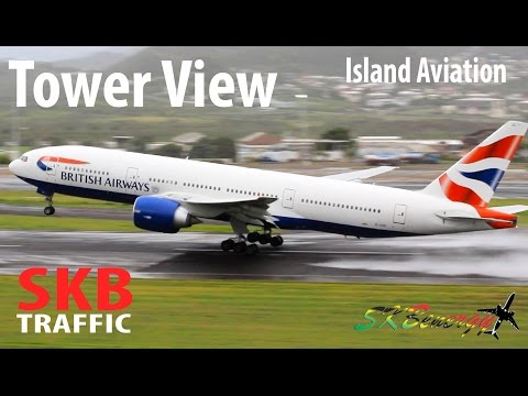 Epic Wet Tower View !!! AJ 727, DL 737, AA 737, BA 777, AA A320, WA Twin Otter...@ St. Kitts Airport