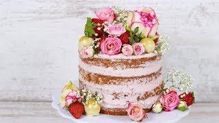 Naked Cake mit Rosen und Erdbeeren - Jubiläumstorte I Geburtstagstorte
