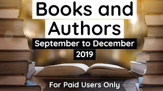 Books and Authors 2019 - September to December complete