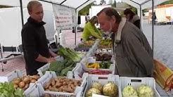 Ferme de la Chapelette : vente au marché. Hainaut. Belgique