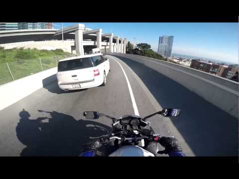 Motorcycle Ride - Bay Area Oakland On-ramp to San Francisco Wharf
