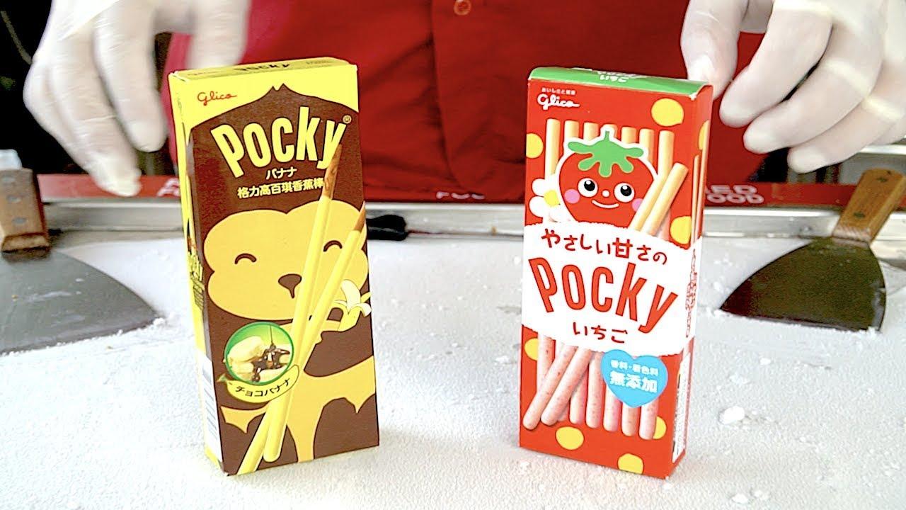 Banana Pocky & Strawberry Pocky Ice Cream Rolls