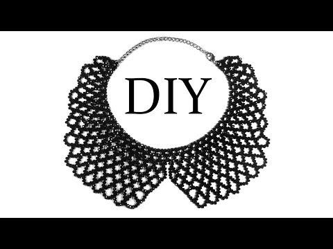 DIY: How to make beaded necklace (collar) / Как сплести воротник из бисера (бусин) Сеточка