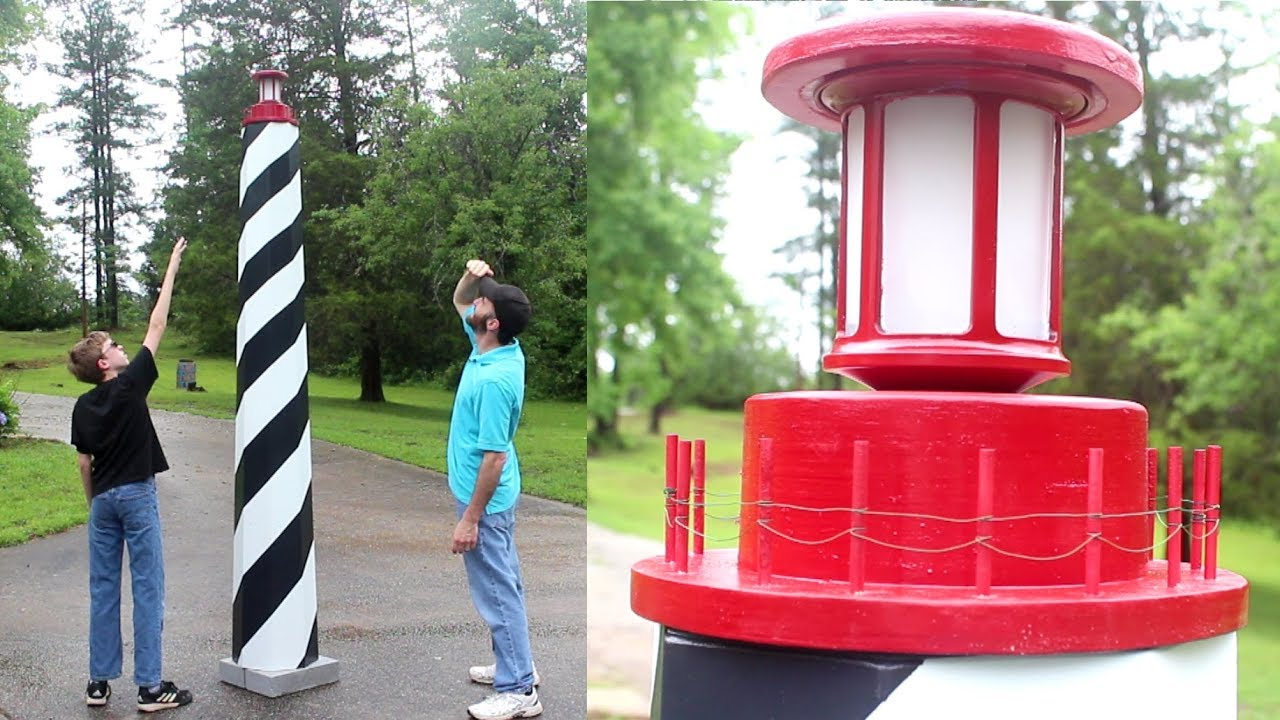 Merveilleux Custom Solar 9 FOOT TALL Lighthouse Garden Decor // Woodworking How To