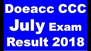 Nielit Doeacc CCC July Exam Result Declared 2018 Printed 4-8-18 #ccc result