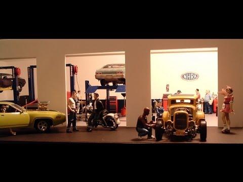 118 Speed Shop Diorama  Hot Rod  Muscle Car Die Cast
