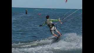 Kite Surfing - the perfect Jibe into toe side (slow motion)