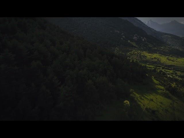 Закат в горах Северной Осетии.