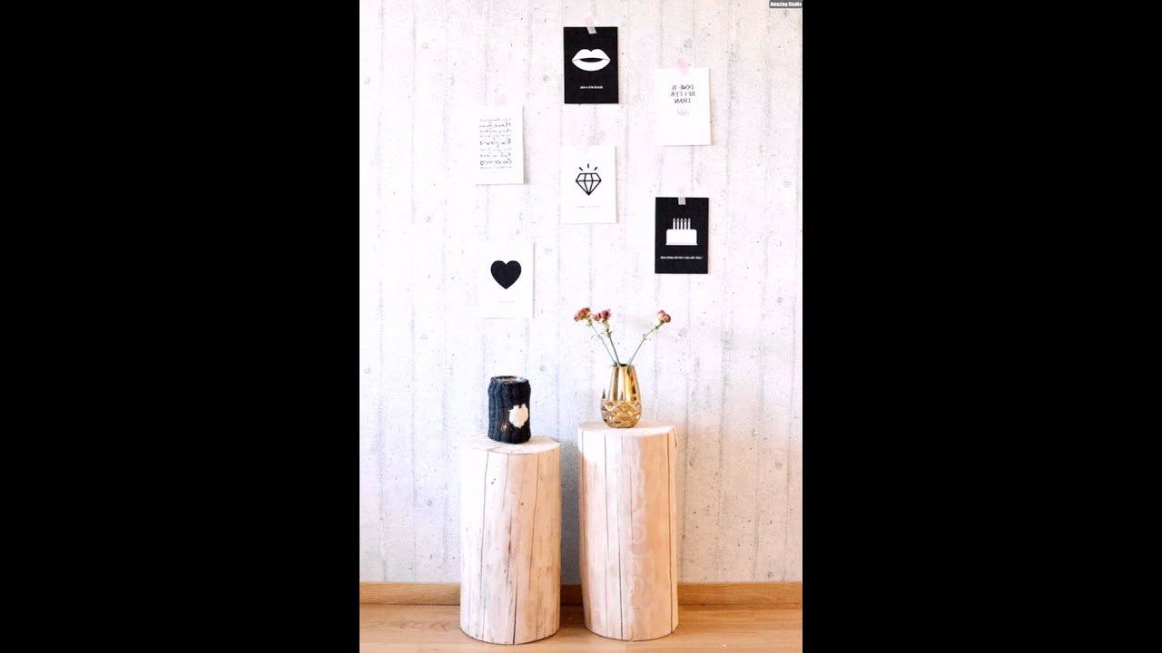 beistelltisch baumstamm selber bauen holz wanddeko wohnzimmer youtube. Black Bedroom Furniture Sets. Home Design Ideas