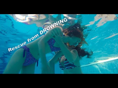 Swimming pool rescue from DROWNING underwater with CPR