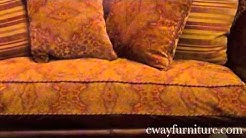 Giovanna High Back Leather and Fabric Sofa Living Room Furniture