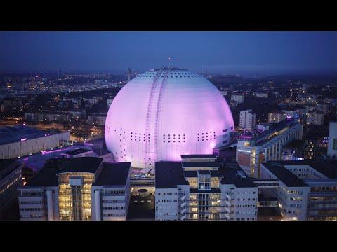 2547. Globen (Stockholm Globe Arena) Drone Stock Footage Video