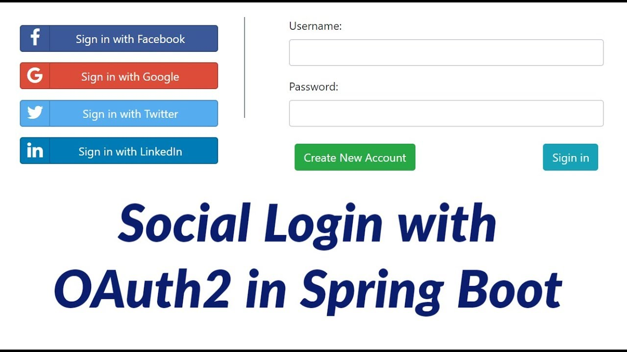 Social Login with OAuth2 in Spring Boot | Facebook | Twitter | Google |  LinkedIn