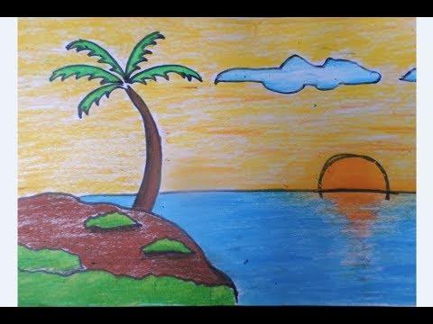 Martias Db21 Gambar Mewarnai Pemandangan Gunung Dan Laut