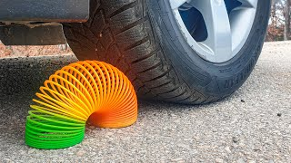 Crushing Crunchy & Soft Things by Car! EXPERIMENT CAR vs RAINBOW SPRING
