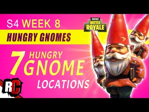 Fortnite WEEK 8 Challenge | ALL 7 HUNGRY GNOMES Challenge (Hidden Hungry Gnome Locations)