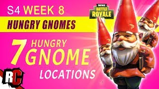 Fortnite WEEK 8 Challenge   ALL 7 HUNGRY GNOMES Challenge (Hidden Hungry Gnome Locations)