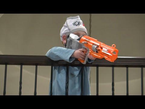 War Games! Dad vs Son Toy War & NERF Blaster Gear Test! KIDCITY