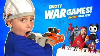 War Games! Dad vs Son Toy War & NERF Blaster Gear Test! KIDCITY