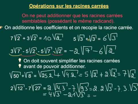 5.3 Opérations sur les racines carrées