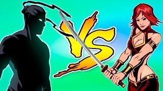 пОБЕДИЛ ЖЕНУ МЯСНИКА И ЗАБРАЛ ЕЕ ОРУЖИЕ! Игровой мультик для детей про бои с тенью Shadow Fight 2