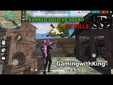 RANKED SOLO VS SQUAD MONTAGE 27 KILLS PRO LOBBY GAMEPLAY // GARENA FREE FIRE !!!