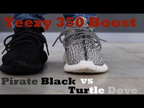 Yeezy Boost 350 'Pirate Black' vs 'Turtle Dove' On Feet