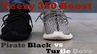 yeezy boost 350 pirate black vs turtle dove on feet
