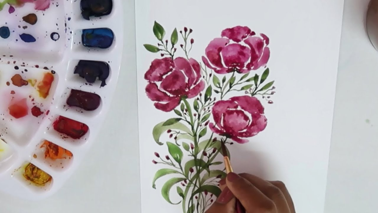 How To Paint Simple Flowers Using Water Colors Watercolor Painting For Beginners Painting Ideas