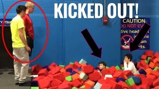 INSANE FOAM PIT FORT!! (KICKED OUT)