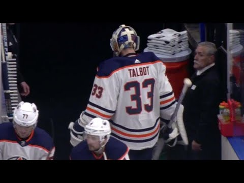 Oilers' Talbot pulled after allowing two goals on three shots