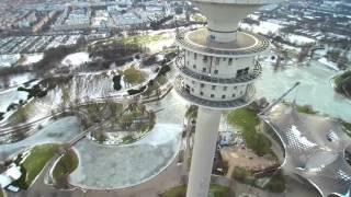 Olympia Stadion BMW Museum Fernsehenturm in Muenchen von Oben gefilm mit Drohne Yuneec Q500+