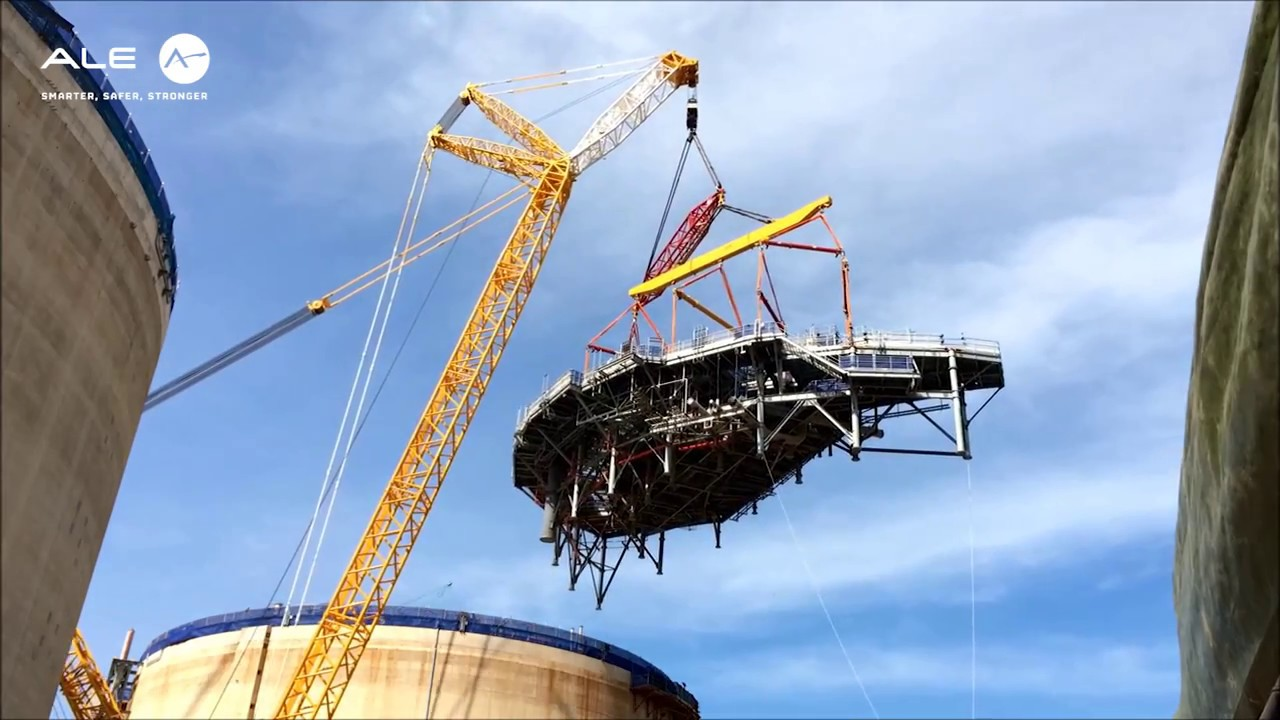 Lifting And Installation Of Two Lpg Tank Platforms Youtube