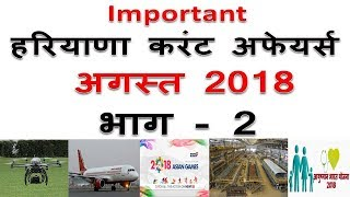 haryana august 2018 current affairs in hindi || haryana current affairs in hindi part 2