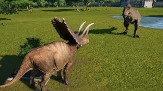 Pentaceratops(Modified) VS T-Rex, I-Rex, Suchomimus, Spinosaurus and Carnotaurus - JWE