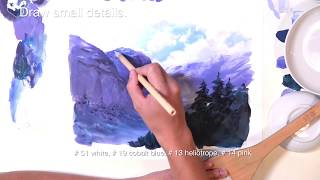 How to painting an animation background 【Snow and valley】