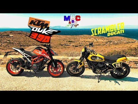 KTM DUKE 390 & DUCATI SCRAMBLER IN THE CURVES - SCRAMBLER CHASE!!