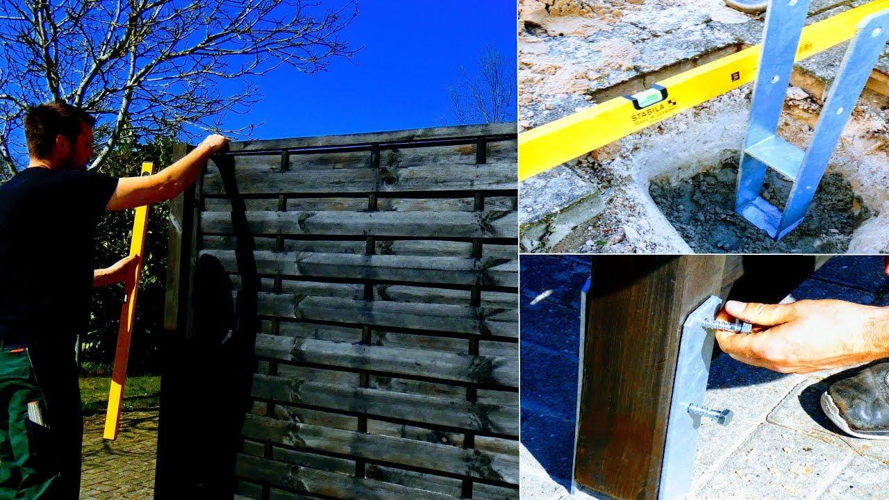 Sichtschutzzaun Aufstellen Fundament Herstellen Pfosten