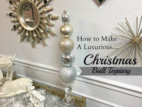 NEW DIY!  Dollar Tree & Hobby Lobby:  Christmas Ball Topiary
