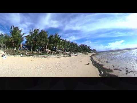 Studying the coast of Kiribati